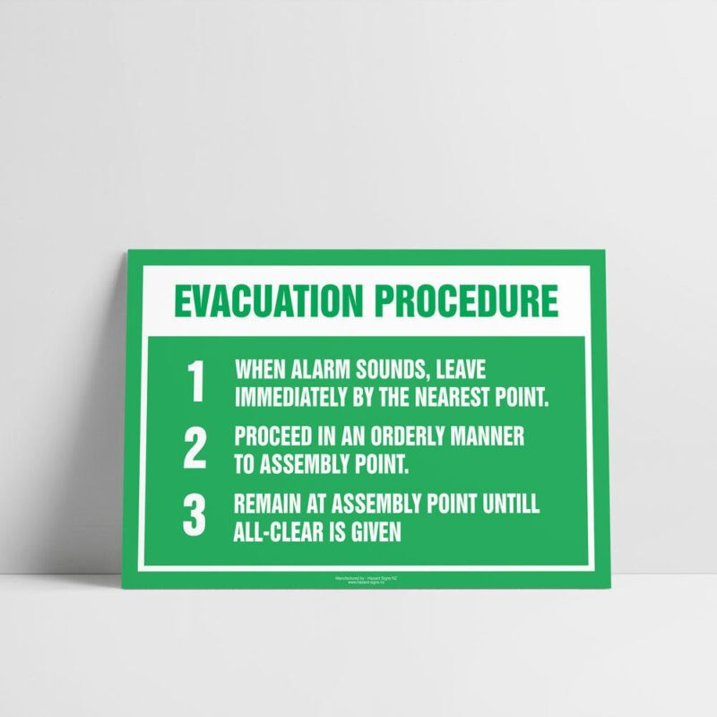 Evacuation Instructions Sign - Emergency Signs - Hazard Signs NZ