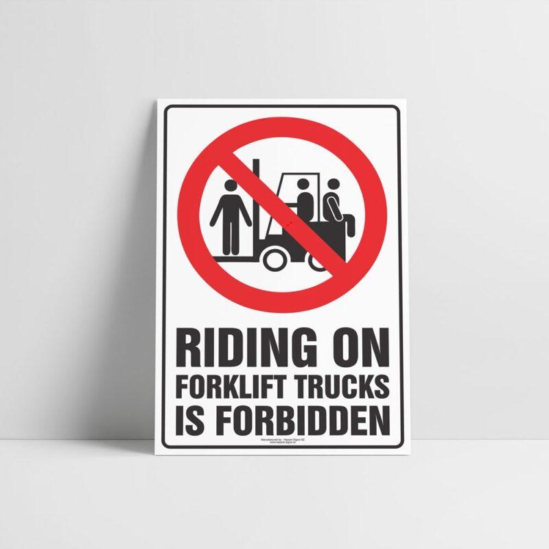 Forklift Riding Forbidden Sign - Forklift Signs - Hazard Sign NZ