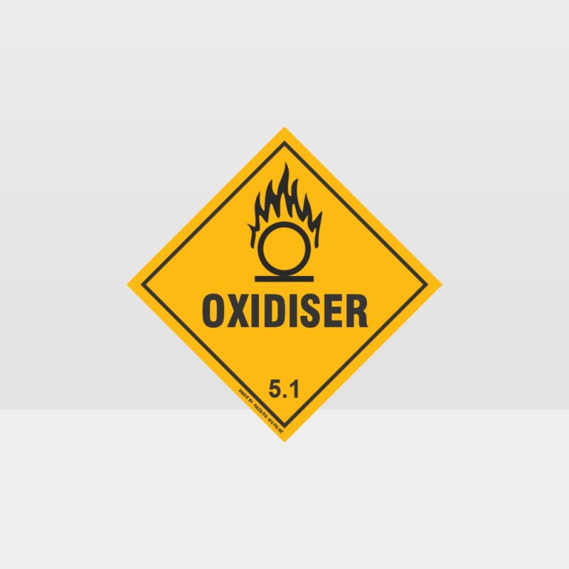 Class 5.1 Oxidiser Hazard Sign