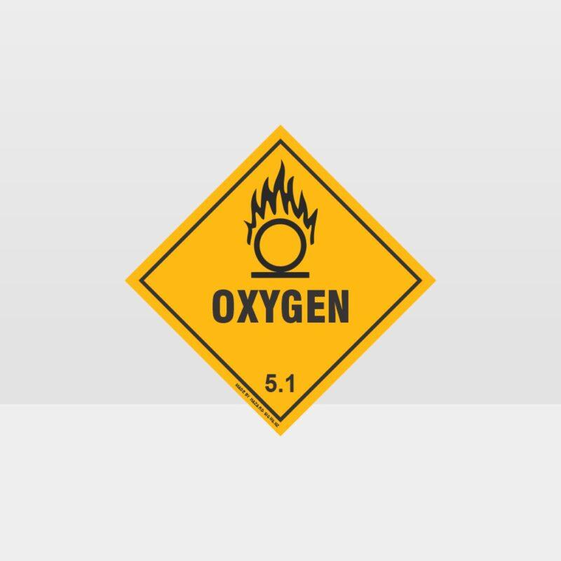 Class 5.1 Oxygen Hazard Sign