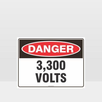 Danger 3300 Volts Sign