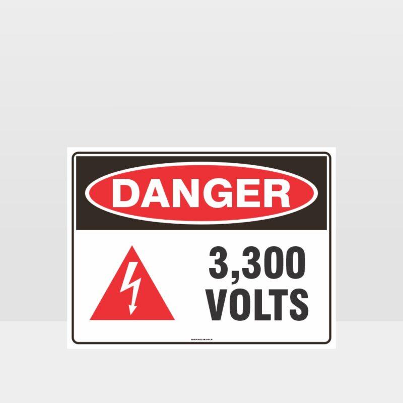 Danger 3300 Volts With Symbol Sign
