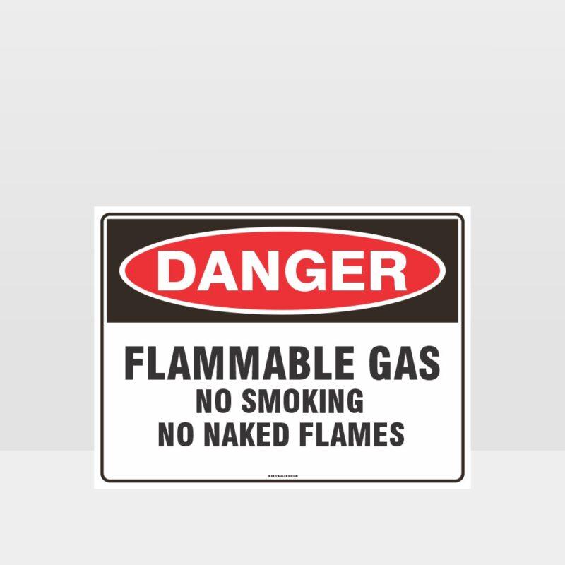 Danger Flammable Gas No Smoking Sign
