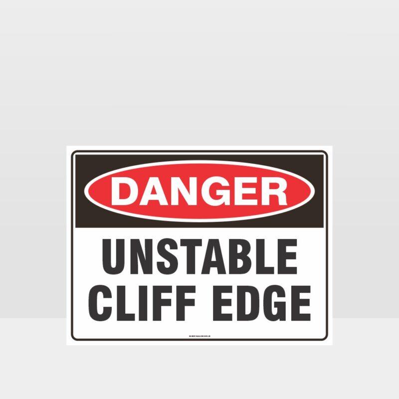 Danger Unstable Cliff Edge Sign