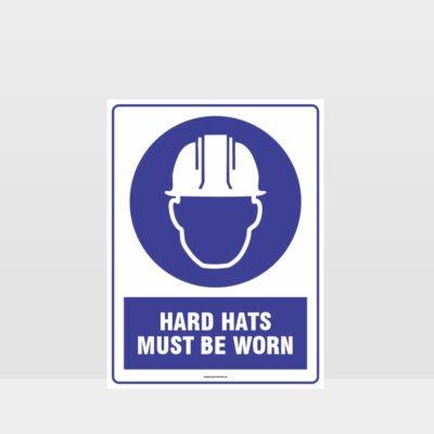 Mandatory Hard Hat Must Be Worn Sign