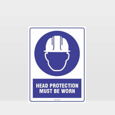 Mandatory Head Protection Must Be Worn Sign