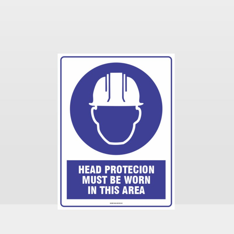 Mandatory Head Protection Must Be Worn In This Area Sign