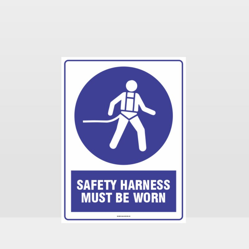 Mandatory Safety Harness Must Be Worn Sign
