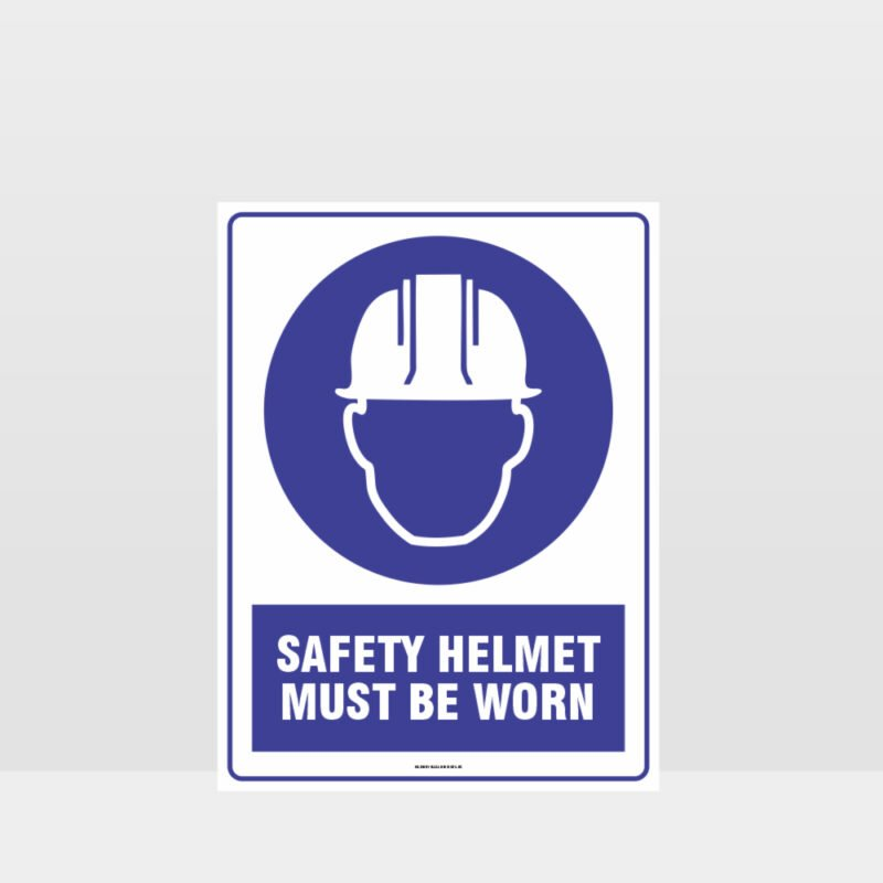 Mandatory Safety Helmet Must Be Worn Sign