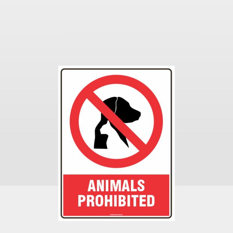Prohibition Animals Prohibited Sign