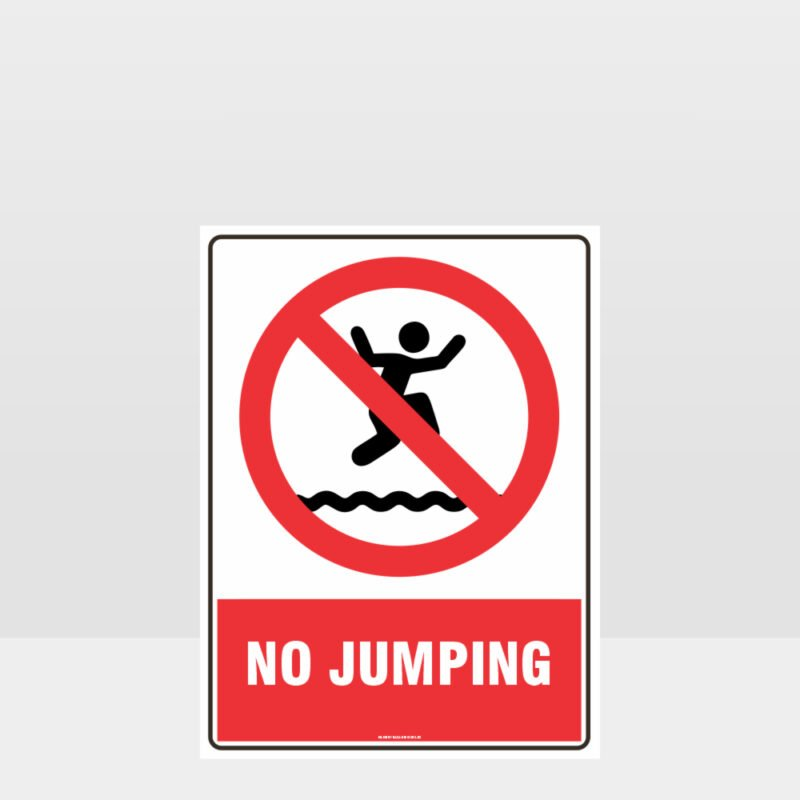Prohibition No Jumping Sign