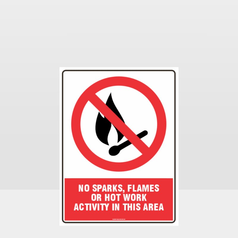 Prohibition No Sparks Flames or Hot Work Sign