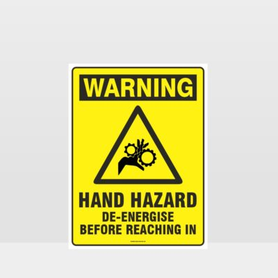 Warning Hand Hazard De-Energise Sign
