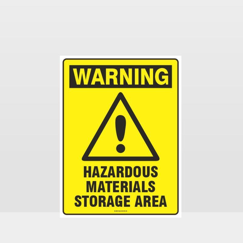 Warning Hazardous Materials Storage Area Sign