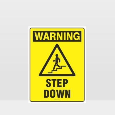 Warning Step Down Sign