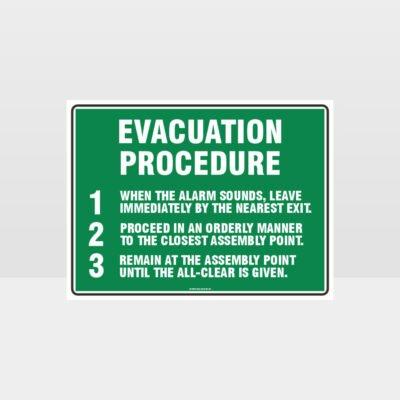 Evacuation Procedure Sign
