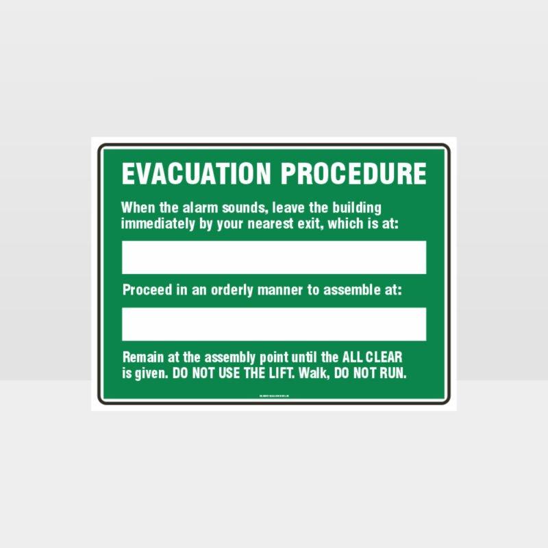 Evacuation Procedure 01 Sign