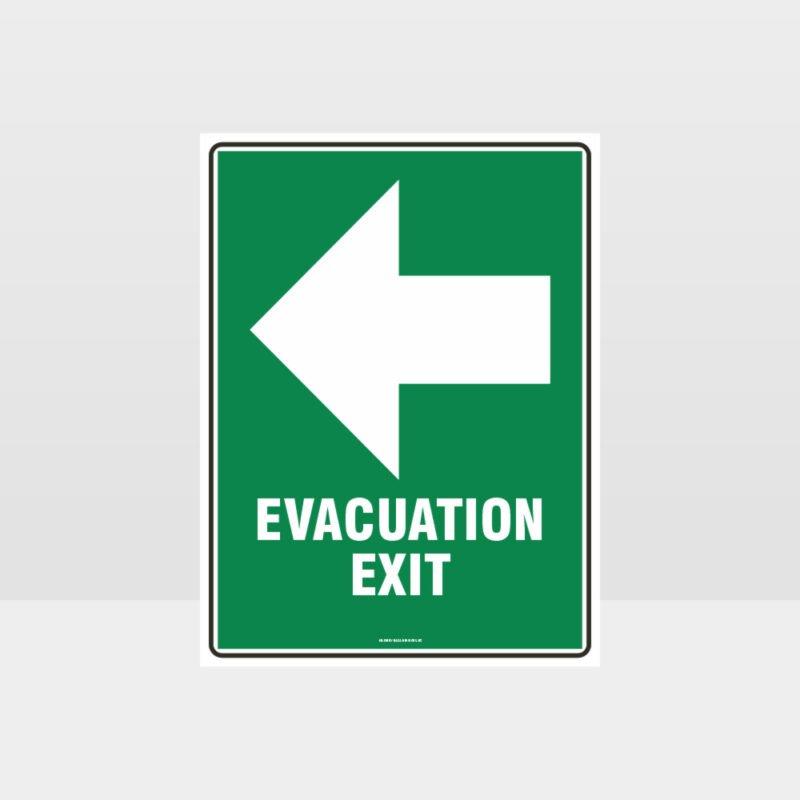 Evacuation Exit Left Sign