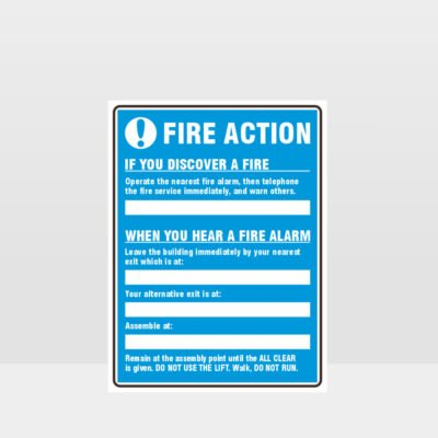 Fire Action Blue Sign