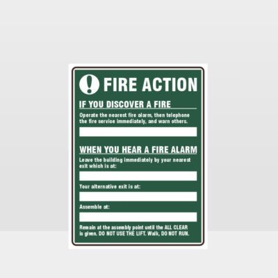 Fire Action Green Sign
