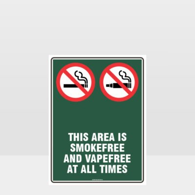 Prohibition This Area Is Smoke And Vape Free At All Times Sign