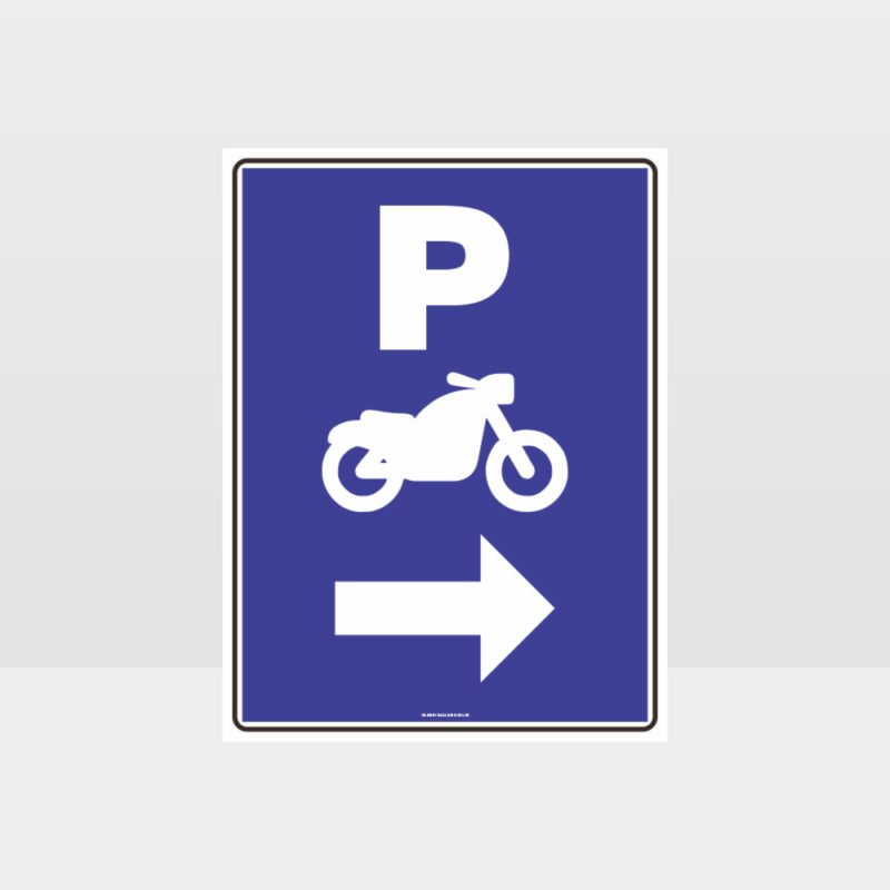 Motorcycle Parking Right Arrow Sign