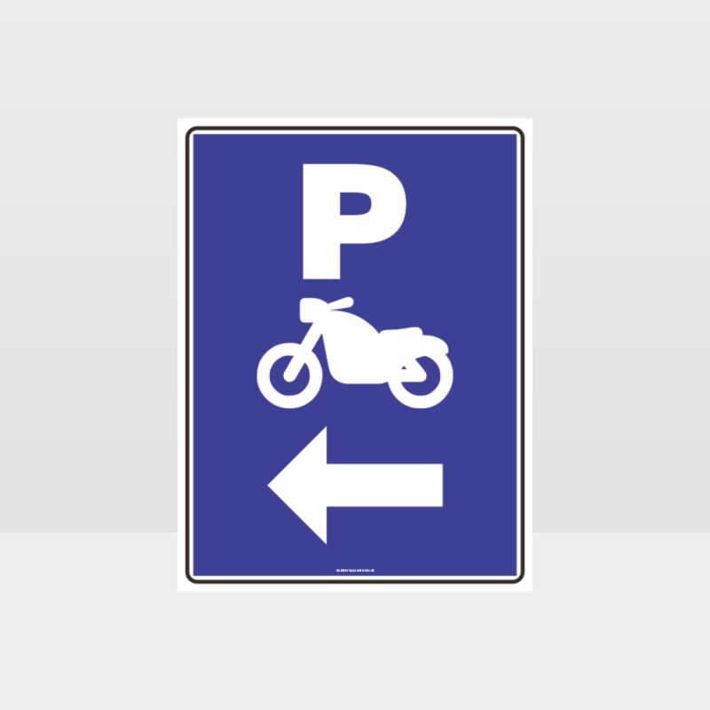 Motorcycle Parking Left Arrow Sign