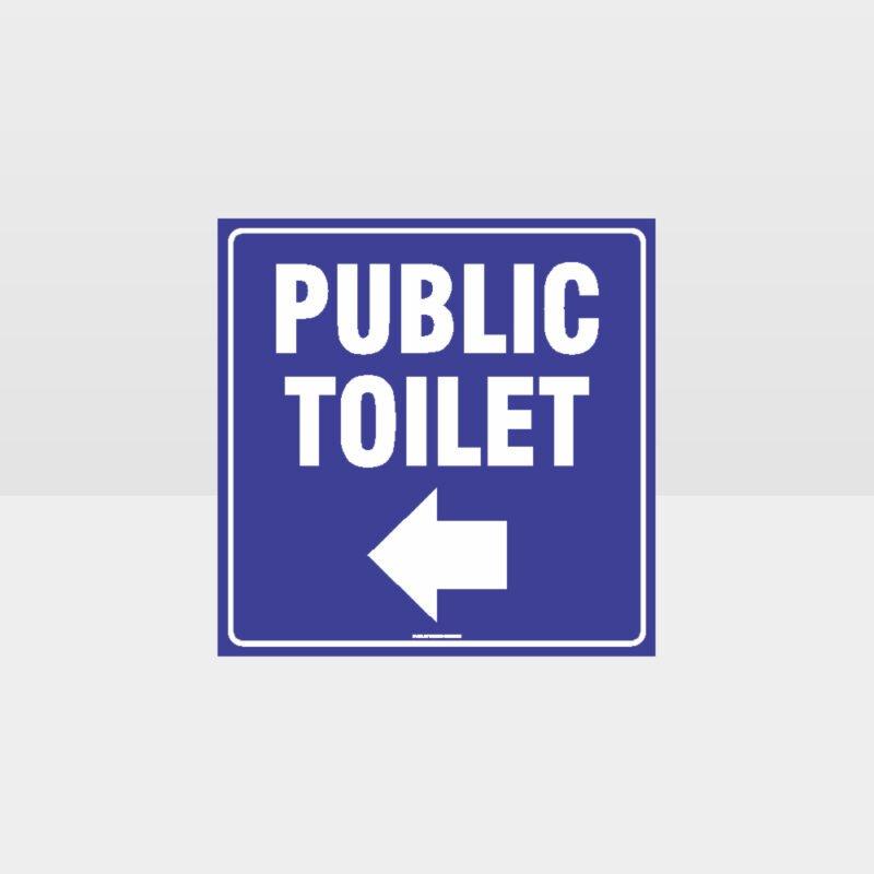 Public Left Arrow Toilet Sign