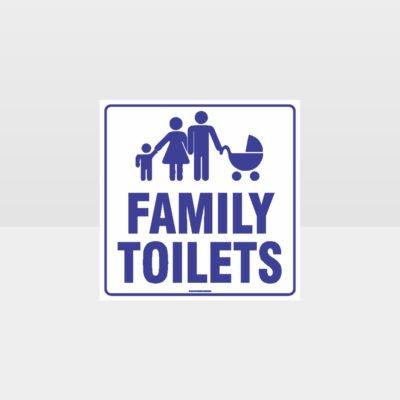 Family Toilets White Background Sign