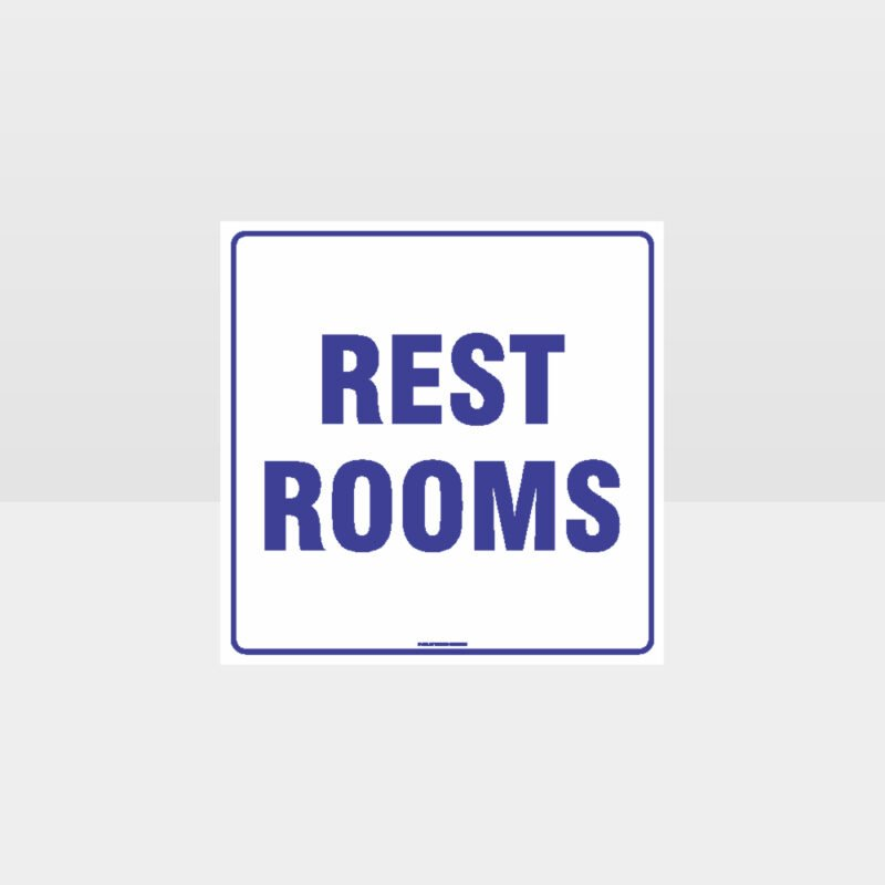 Rest Rooms White background Sign