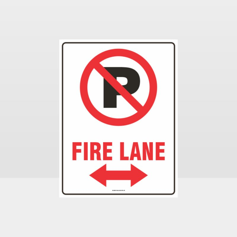 Fire Lane Left And Right Arrow Sign