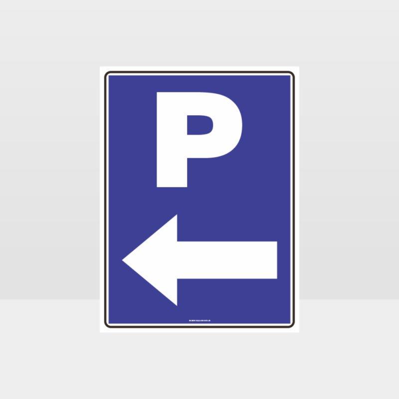 P Parking Left Arrow Sign