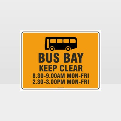 Bus Bay Keep Clear With Times Sign