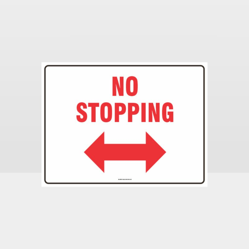 No Stopping Left And Right Arrow Sign