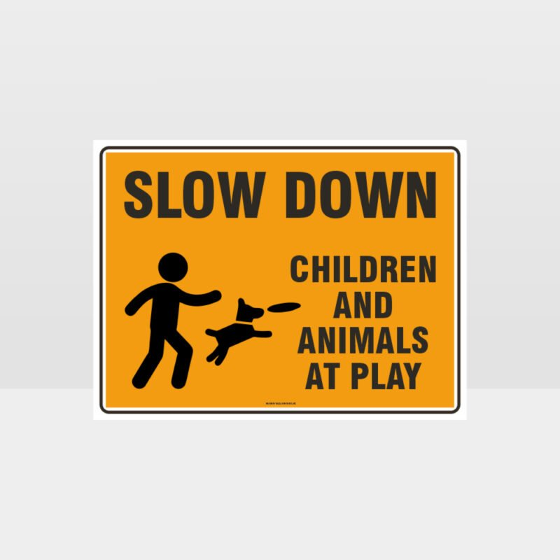 Slow Down Children And Animals At Play L Sign
