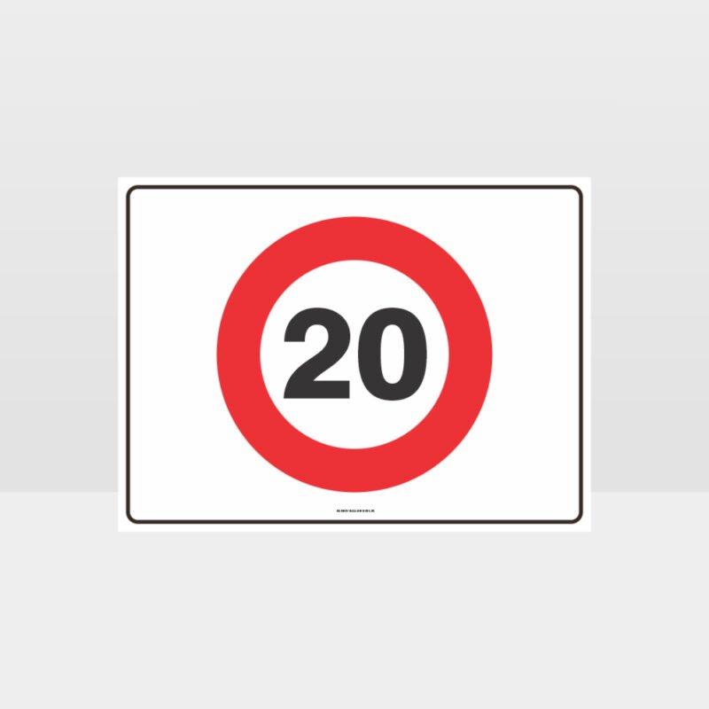 20 KPH Speed L Sign