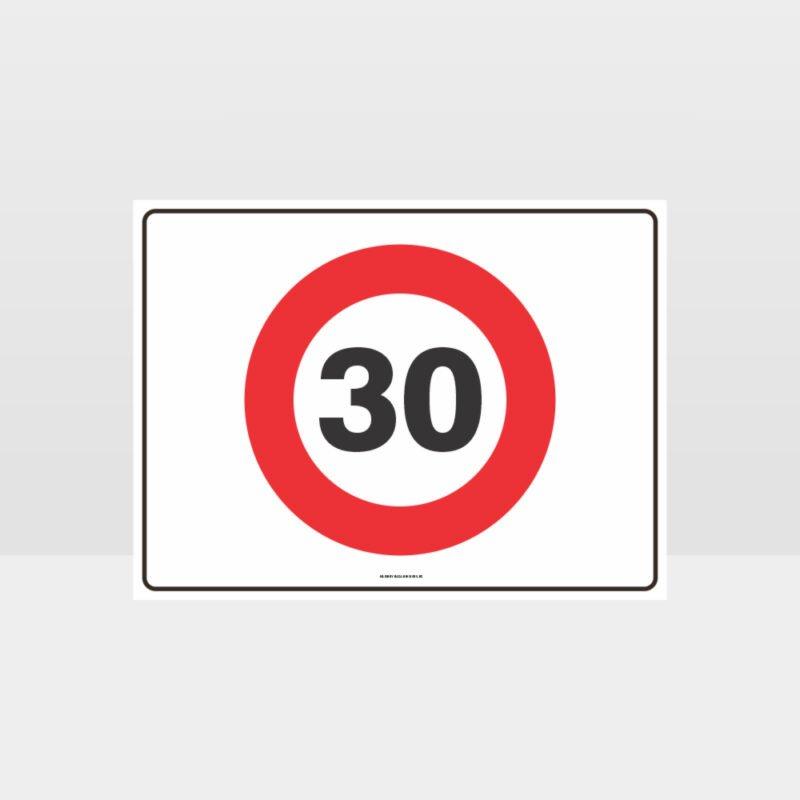 30 KPH Speed L Sign