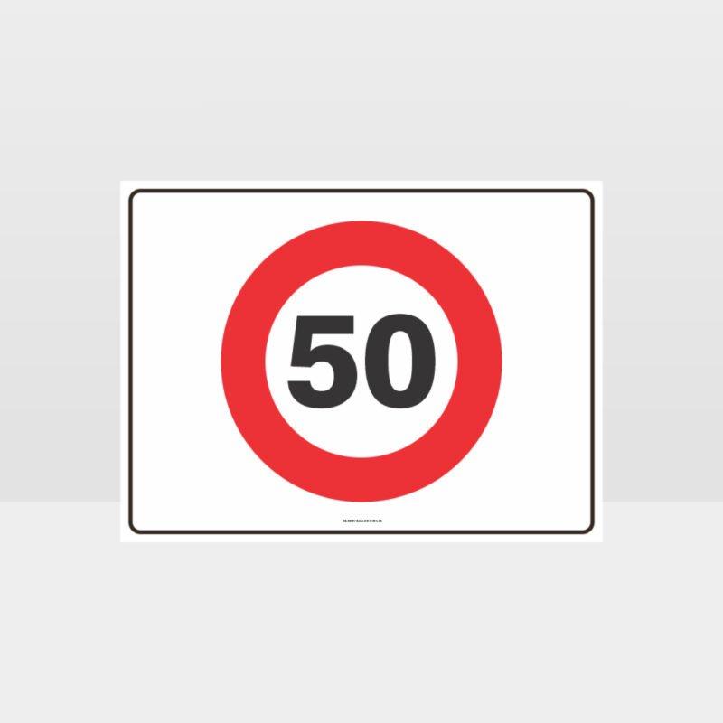 50 KPH Speed L Sign