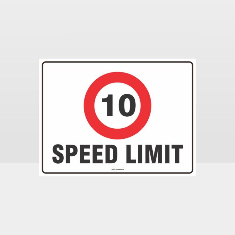10 KPH Speed Limit L Sign