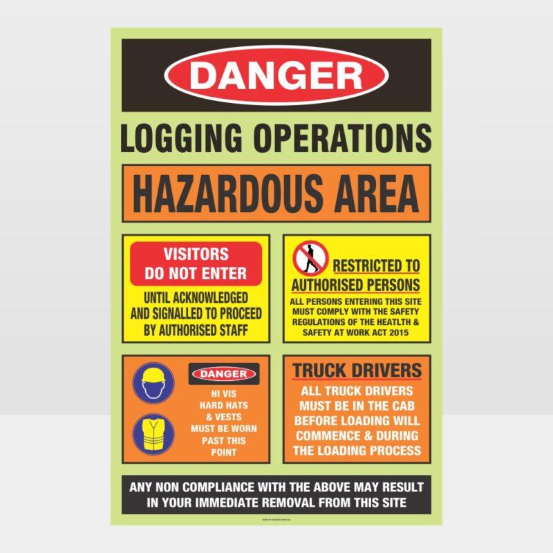 Logging Operations Hazardous Sign