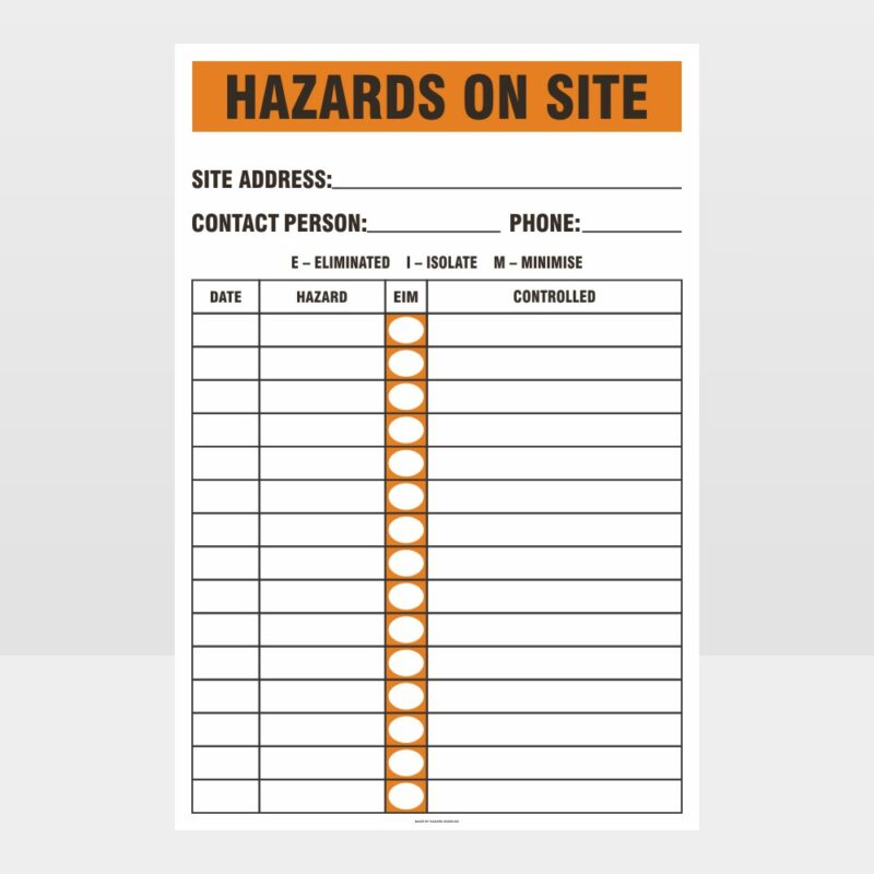 Hazards On Site Sign