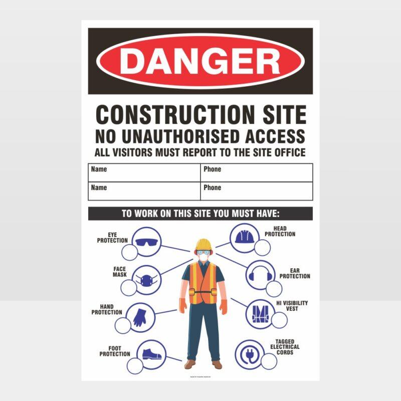 Danger Construction Site Large Sign