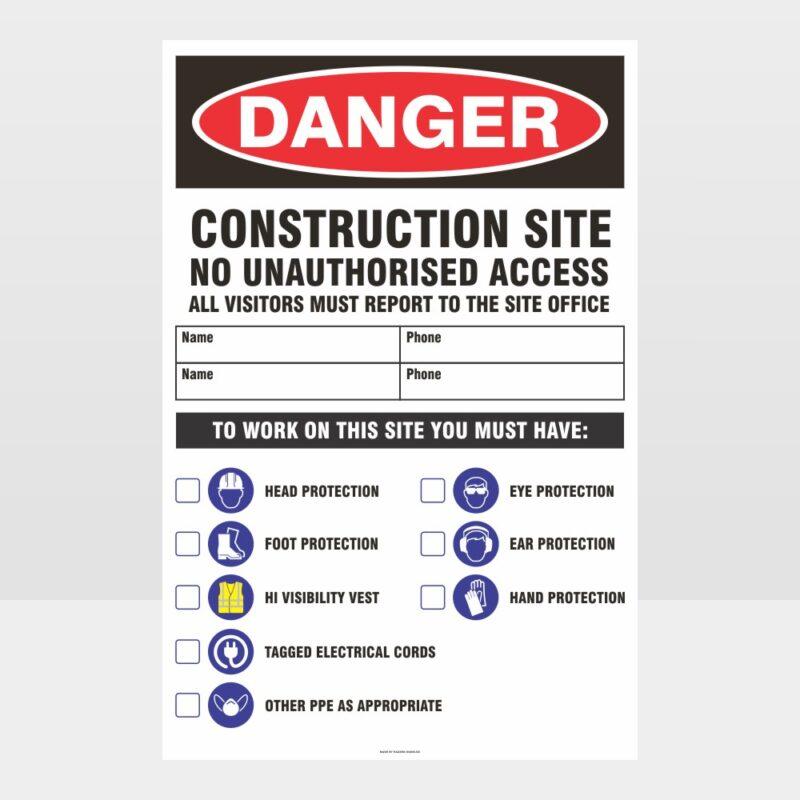 Danger Construction Site Large Sign 01