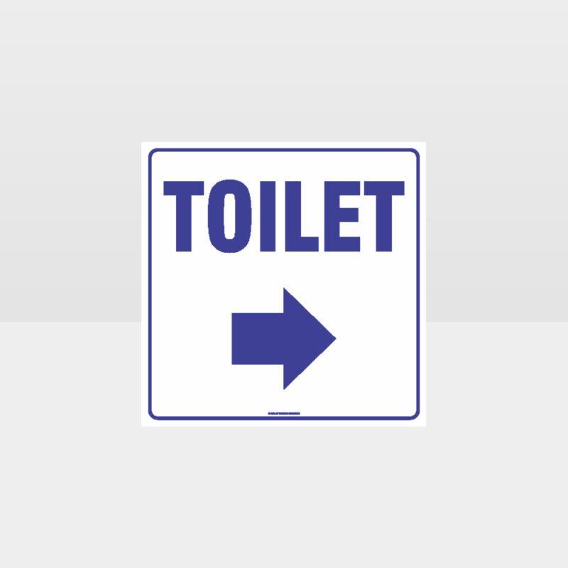 Toilet Right Arrow White background Sign