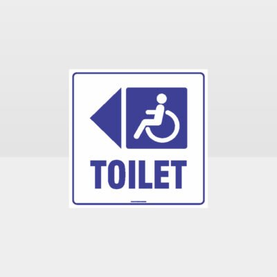 Accessible Toilet left Arrow White background Sign