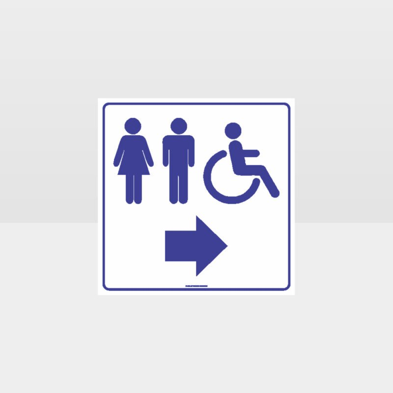 Male Female Accessible Toilets Right Arrow White Sign