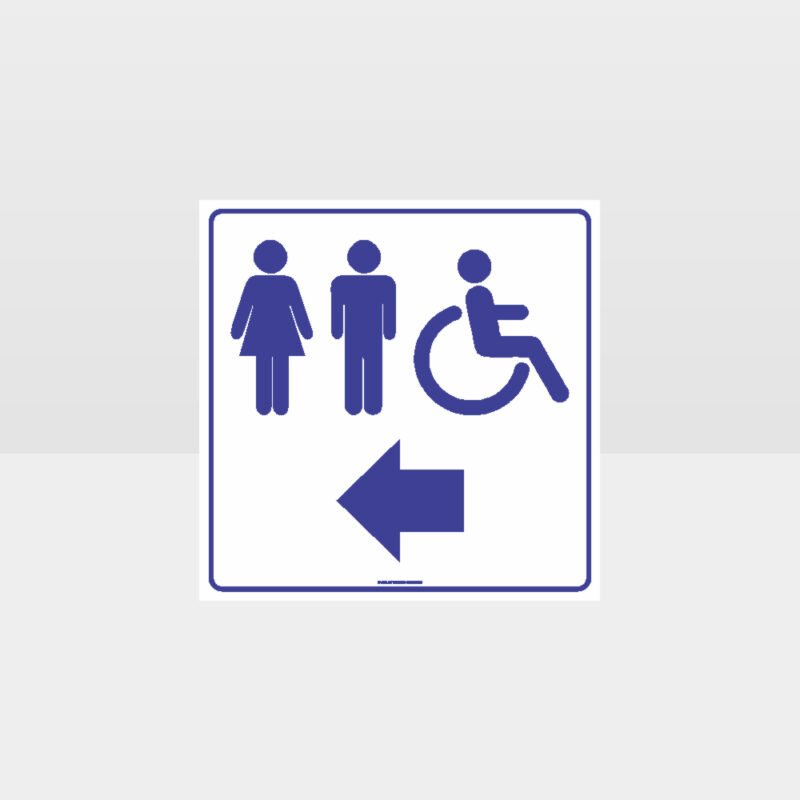 Male Female Accessible Toilets Left Arrow White Sign