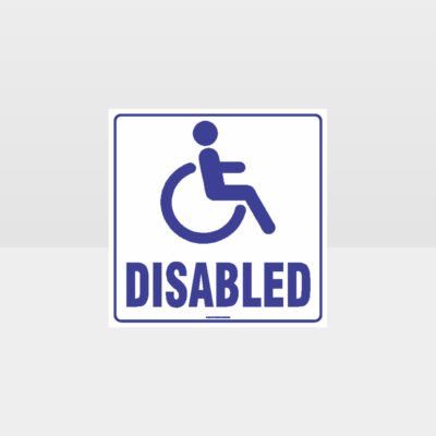 Disabled Toilet White Background Sign