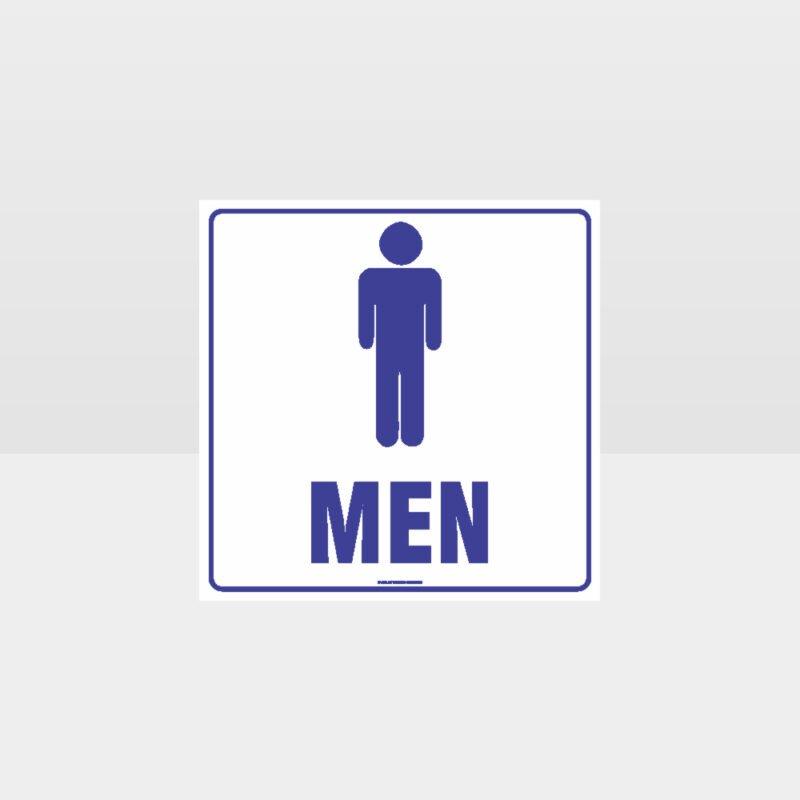 Men Toilet White Background Sign