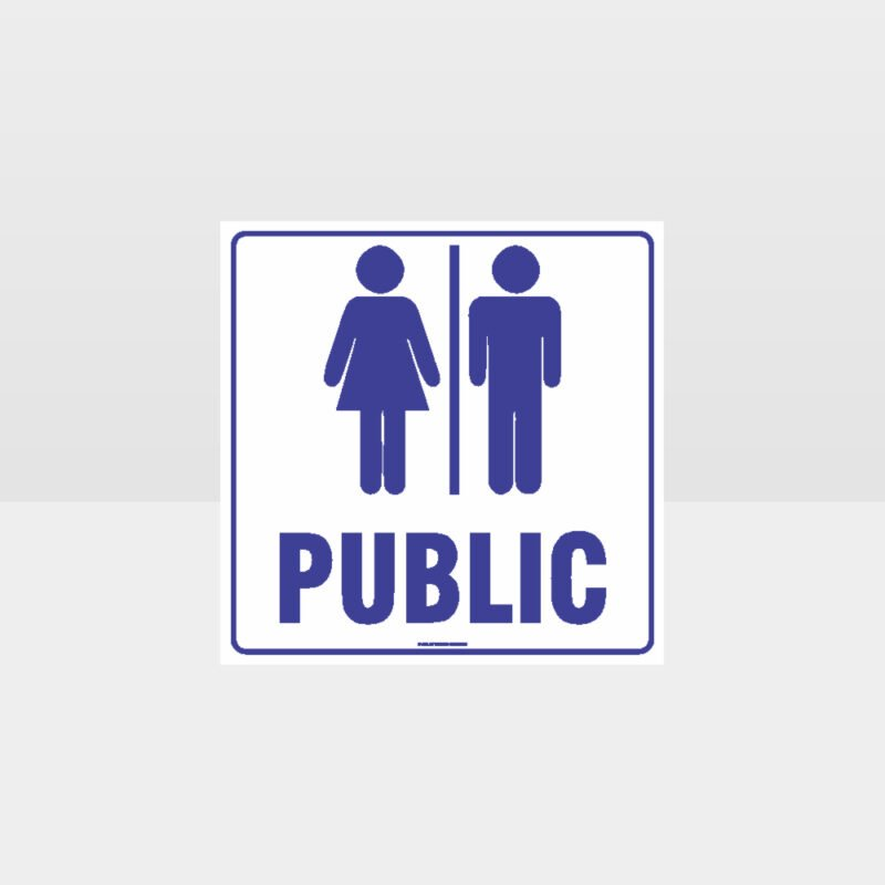 Public Toilet White Background Sign